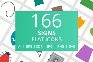 166 Signs Flat Icons