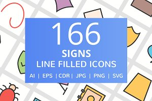 166 Signs Filled Line Icons
