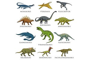 Dinosaurs set. Tyrannosaurus. Animal