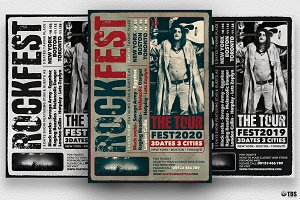 Distressed Rockfest Flyer Template