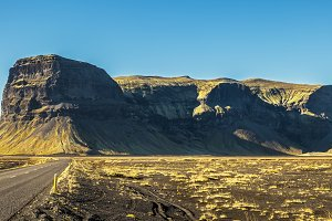Scenic landscape with the ring road in Iceland