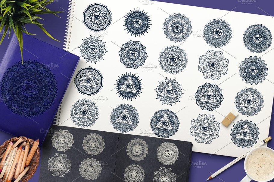 c93566b57 Mystical Mandala With Eye ~ Illustrations ~ Creative Market
