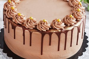 Chocolate Cake with Fudge Drizzled Icing and Curls