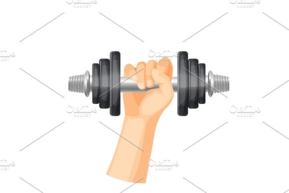 Heavy Dumbbell To Train Muscules In Strong Human Hand