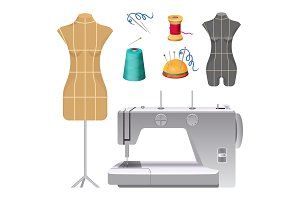 Dummies for clothes and modern electric sewing machine
