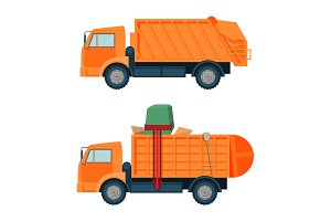 Long orange dumpster truck with empty and full body set