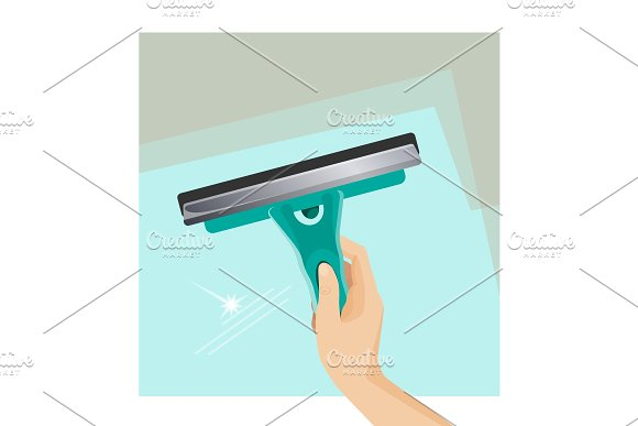 Instrument For Cleaning Window Scrubber And Squeegee On Glass Surface