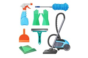 Set of cleaning tools rubber gloves, brush for removing dust,