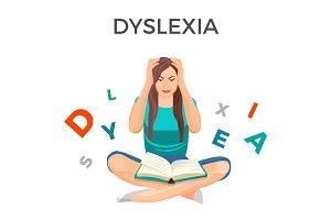 Dyslexia mental disorder conceptual vector illustration with woman