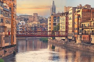 Sunset in Old Girona town, view on r