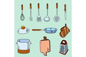 Hand drawn doodle sketch kitchen utensils for cooking Bon Appetit.
