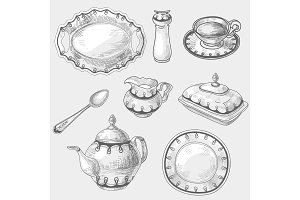 Hand drawn doodle sketch kitchen porcelain utensils, kitchenware kettler teapot cup of tea coffee spoon dish or plate.