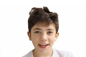 teenager handsome boy close up smiling portrait
