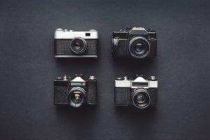 Vintage Film Cameras On Black Backgr