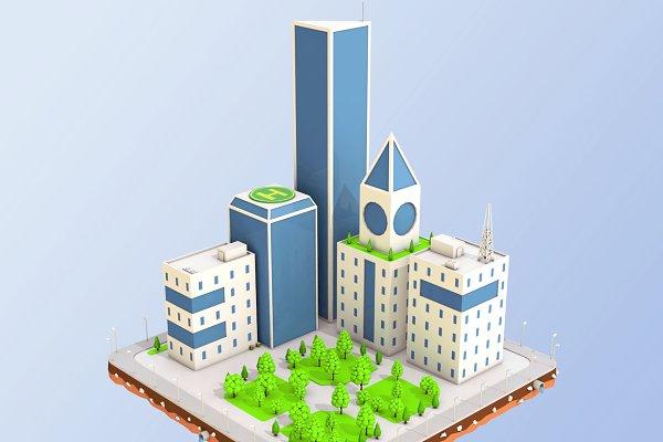 3D Urban - Low Poly City Block Skyscraper Build