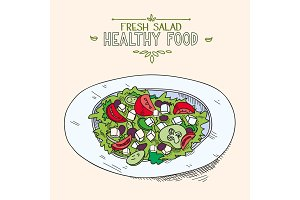 Natural fresh mixed Greek salad with sliced vegetables in dish organic healthy food