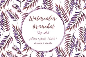Watercolor branches colorul clipart