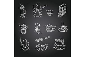 Hand drawn sketch doodle vintage simple coffee theme devices coffeemaking Menu design for cafe and restaurant on black background Vector illustration
