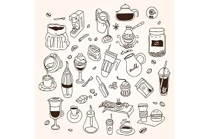 Hand drawn sketch doodle vintage simple coffee theme