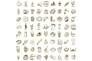 Morning breakfast lunch or dinner kitchen doodle hand drawn sketch rough simple icons coffee, tea, donut, teapot, cupcake, jam and other sweets