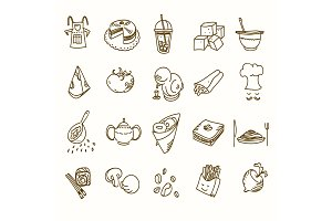Food cafe set Morning breakfast lunch or dinner kitchen doodle hand drawn sketch rough simple icons coffee, tea, donut, teapot, cupcake, jam and other sweets