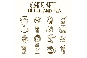 Cafe doodle set coffee and tea Morning breakfast lunch or dinner kitchen hand drawn sketch rough simple icons