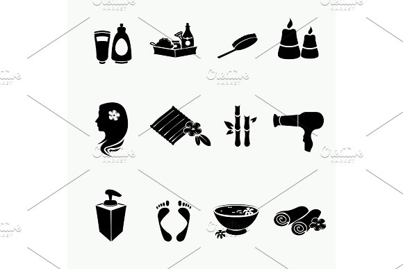 Spa Doodle Hand Drawn Sketch Black Icons Set With Towels Aroma Candles Vector Illustration