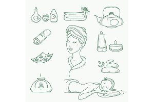 Spa doodle hand drawn sketch  icons set with  towels aroma candles beauty, health care, cosmetics, spa and wellness vector illustration