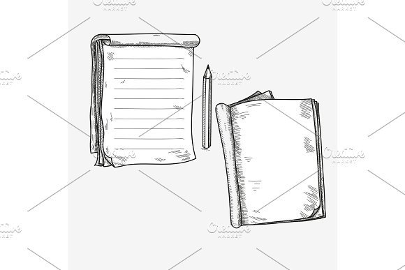Hand Drawn Doodle Sketch Open Notebook Clear Page Template For
