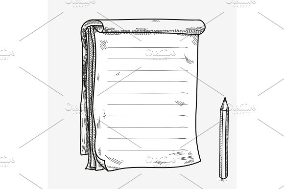 Hand Drawn Doodle Sketch Open Notebook Clear Page Template For Notes Memo Notice Comic Book Scrapbook Sketchbook Textbook With Pencil