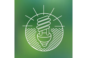 energy saving spiral eco lamp fluorescent light bulb linear icon environmentally friendly planet Ecology Concept