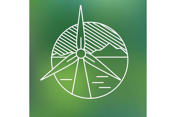 wind turbine linear icon, eco gener…