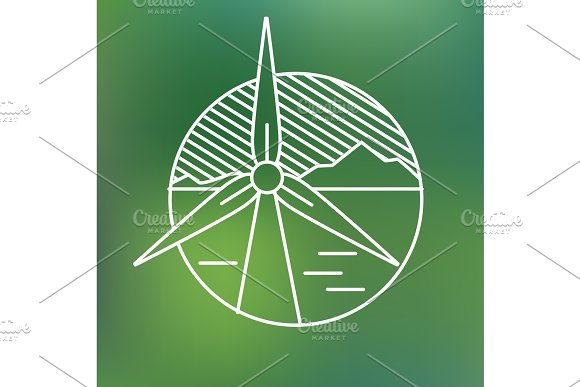 Wind Turbine Linear Icon Eco Generating Electricity Save Planet Concept