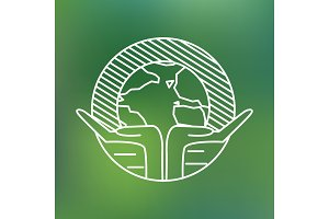 Earth globe in human hands planet protection care recycling save ecology concept linear icon