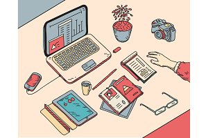 top view sketch hand drawn office or fome workplace freelancer with business objects and items lying on a desk laptop, digital tablet, mobile phone, documents