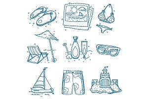 Hand drawn doodle sketch travel icons summer vacation on beach.