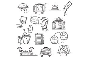 Hotel Services icons doodle hand drawn style concept vacation summer travel