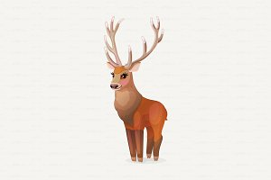 ♥ vector Red deer, Cervus Elaphus