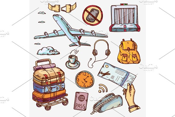 Airport And Air Travel Icons Concept Traveling On Airplane Tourism Journey Passenger Objects