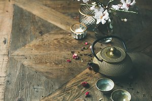 Asian tea ceremony arrangement