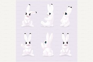 ♥ vector white polar hare, rabbit