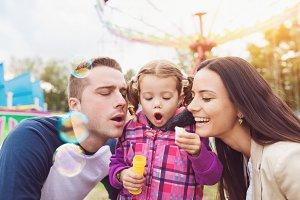 Family at fun fair