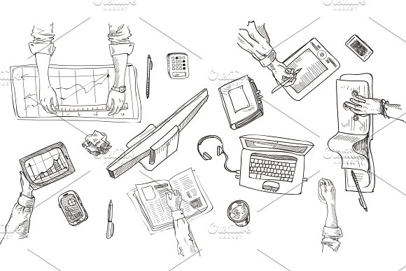 Teamwork Top View People Hands Sketch Hand Drawn Doodle Office Workplace With Business Objects And Items Lying On A Desk Laptop Digital Tablet Mobile Phone