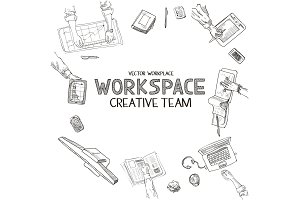 Teamwork, top view people hands sketch hand drawn doodle office workplace with business objects and items lying on a desk laptop, digital tablet, mobile phone