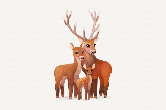 Vector Red Deers Family