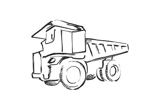 Tractor sketch. Black and white illustration. Agricultural logo