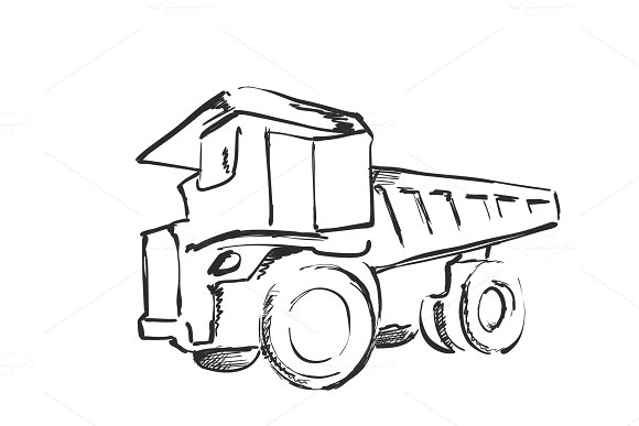 Tractor Sketch Black And White Illustration Agricultural Logo