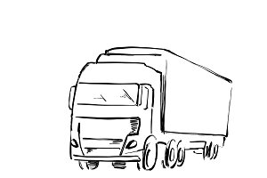 Sketch logistics and delivery poster. Hand drawn truck illustration