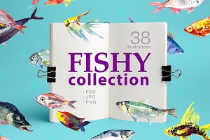 38 watercolor fishes, PNG+PSD+JPG
