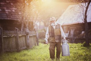 Senior man at farm.